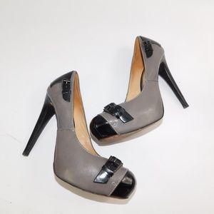 L. A. M. B grey and black pumps